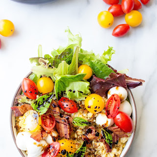 Caprese Rice & Lentil Bowls with Bacon.