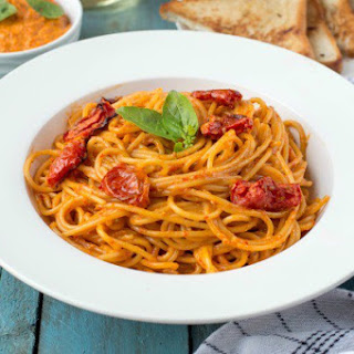Spaghetti In Red Chilli Pesto And Roasted Tomatoes
