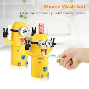 Dozator pasta de dinti cu suport pentru 2 periute, model Minions