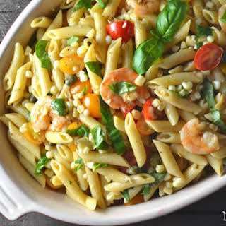 Roasted Shrimp and Sweet Corn Pasta Salad.
