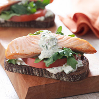 Open-Faced Salmon Sandwiches with Herb Cucumber Relish.