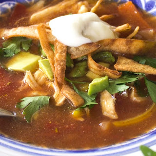 Hearty Tortilla Soup with Roasted Vegetables.