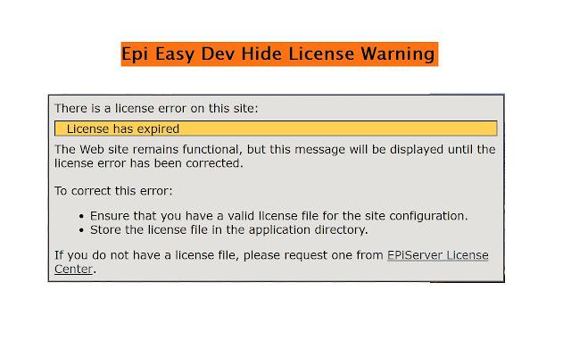 Epi Easy Dev Hide License Warning