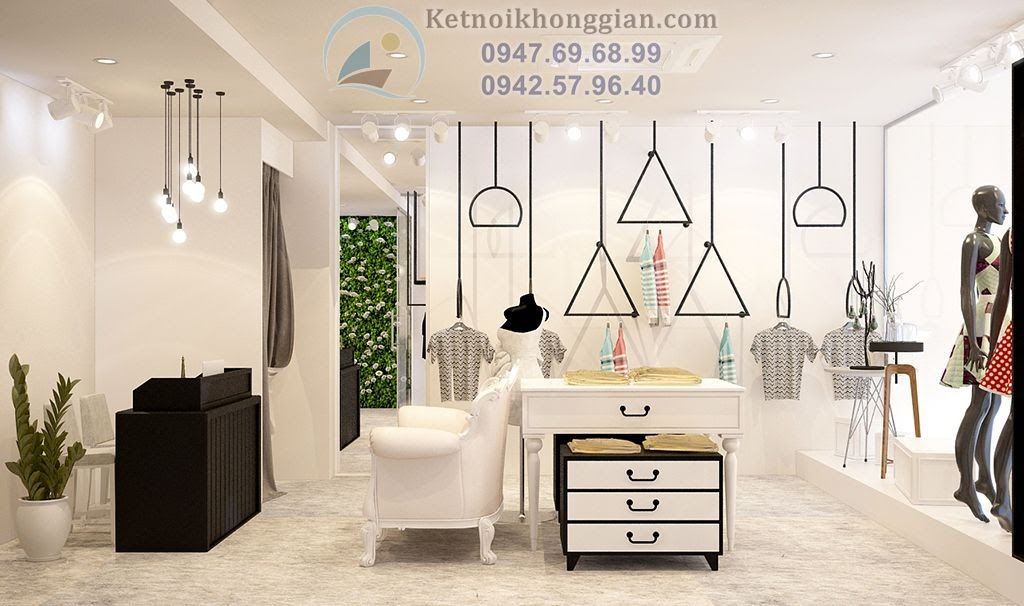 thiết kế cửa hàng thời trang nữ với nội thất sáng tạo