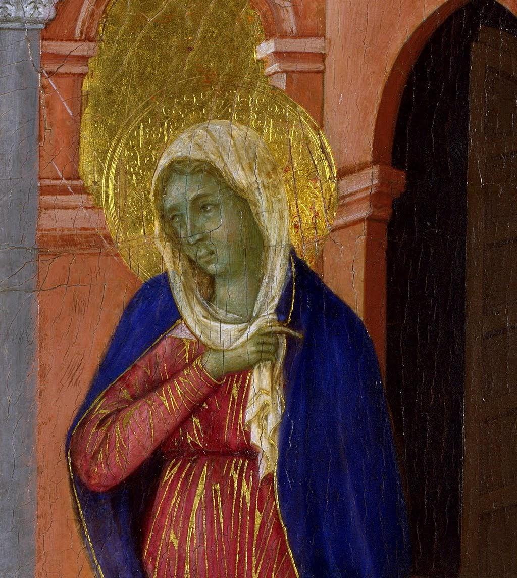 Duccio di Boninsegna, Maestà del Duomo di Siena (particolar de Maria) (1308-1311), tempera e oro su tavola, dal Duomo di Siena, Londra, National Gallery