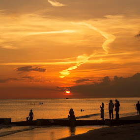 enjoy the sunset by Asya Atanasova - Landscapes Beaches ( clouds, sky, silhouette, sunset, summer, sea, people, sun,  )
