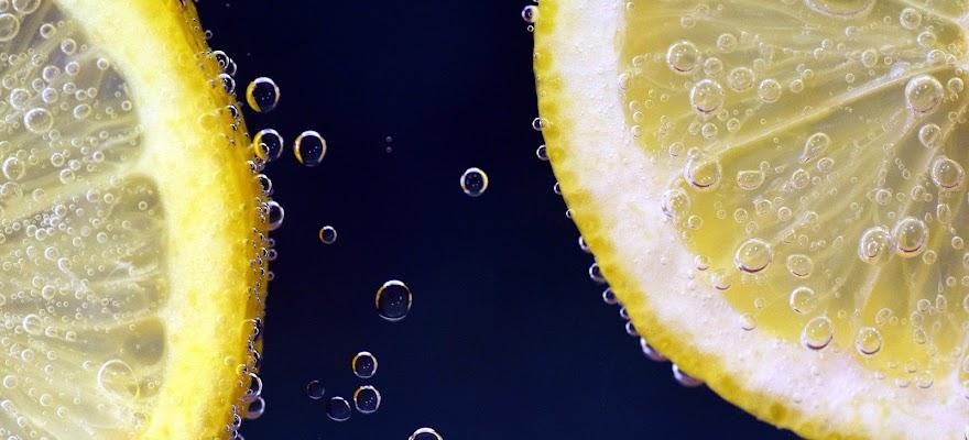 Plastry cytryny w wodzie