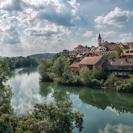 Novo Mesto by Dubravka Krickic - Landscapes Travel ( clouds, novo mesto, small town, old, sky, slovenia, summer, krka, river )