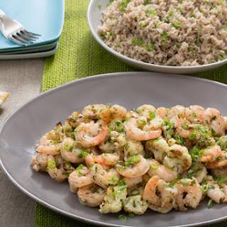 Garlic-Herb Butter Shrimp with Roasted Cauliflower & Brown Basmati Rice