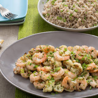Garlic-Herb Butter Shrimp with Roasted Cauliflower & Brown Basmati Rice.