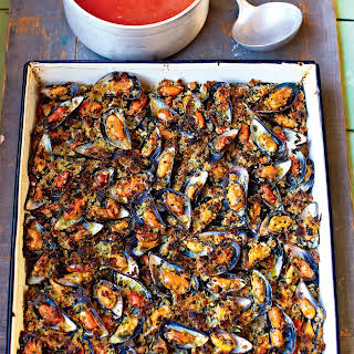 Grilled Garlic Mussels Sweet Tomato Soup.