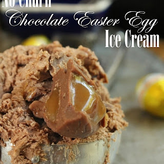 No Churn Chocolate Caramel Easter Egg Ice Cream