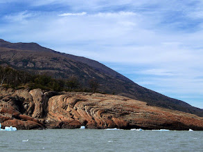 Photo: Granite formations line a western lobe of Lago Argentino
