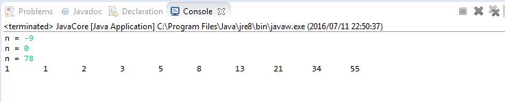 Java - In ra dãy số Fibonacci