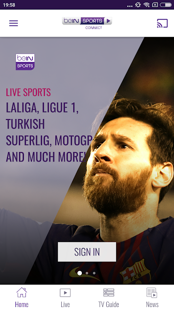 beIN SPORTS CONNECT Android App Screenshot
