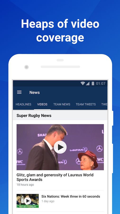 Union Live: Super Rugby XV scores, stats & news- screenshot