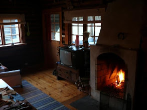 Photo: Inside our log cabin...