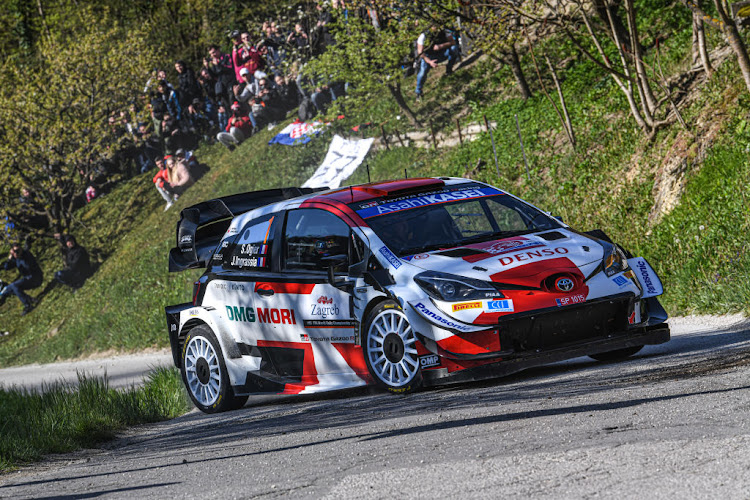 Sebastien Ogier of France and Julien Ingrassia of France compete with their Toyota Gazoo Racing WRT Toyota Yaris during day two of the FIA World Rally Championship Croatia on April 24 2021 in Zagreb, Croatia.