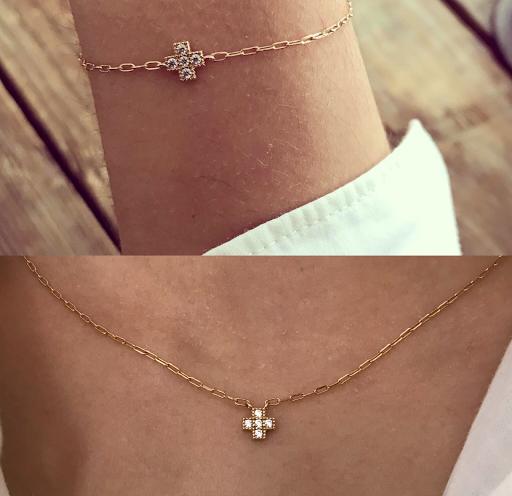 Bracelet et/ou collier croix strassée