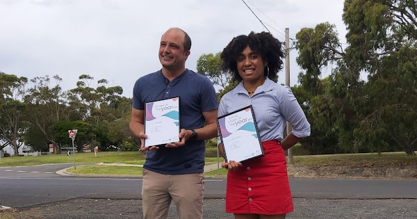 Mat Bowtell from Cowes as the 2021 Bass Coast Citizen of the Year and Wonthaggi's Margaret Sand as the 2021 Bass Coast Young Citizen of the Year.