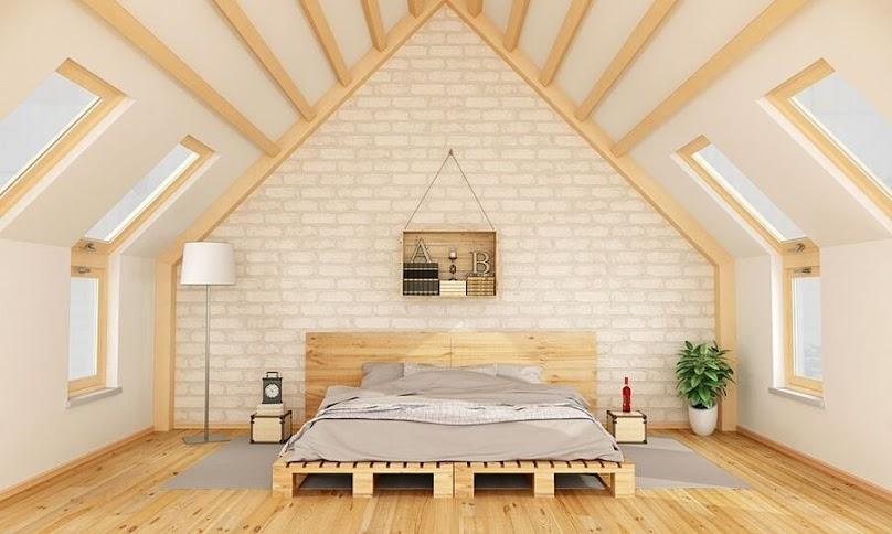 Minimalistyczna sypialnia pod skosami