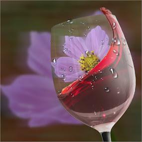 Cosmos in a wine glass by Marissa Enslin - Digital Art Things