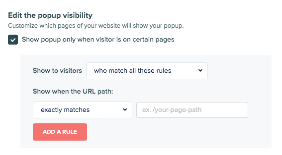 pop-up visibility rules
