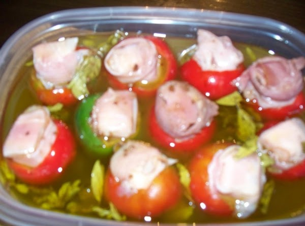 Place your stuffed peppers in a container which has a secrued lid.  Pour...
