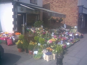 Photo: A spring display from Heather's Flowers at the entrance to the town. Al Fresco Picnic fruit can always be purchased if the weather's nice.