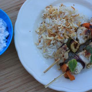 Greek Chicken Kabobs with Feta Mint Dip