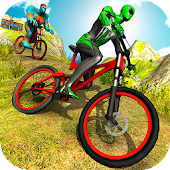 Offroad Superhero BMX Bicycle Stunts Racing