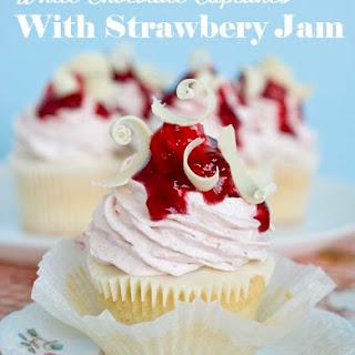 White Chocolate Strawberry Cupcakes.