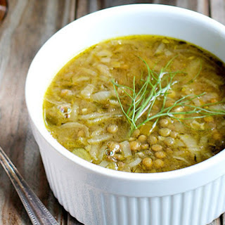 French Onion, Fennel, and Green Lentil Soup [Vegan].