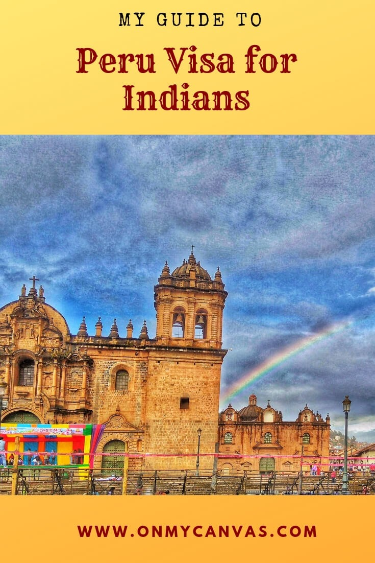 cusco cathedral at plaza de armas in cusco peru being used for pinterest image for Peru visa for indians travel guide