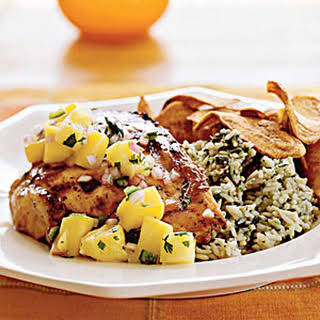 Grilled Chicken with Mango-Pineapple Salsa.