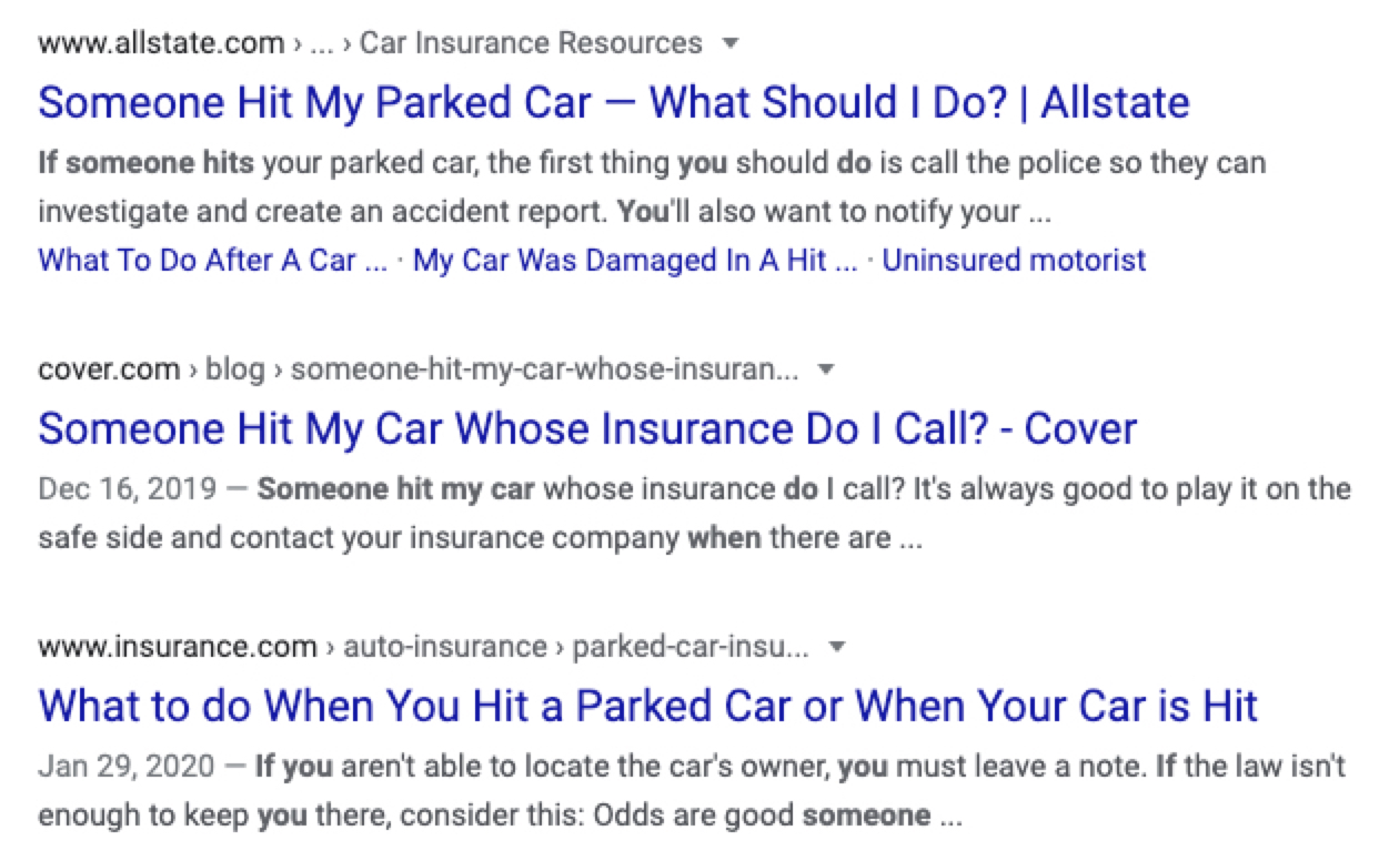 """SERP results for keyword """"what to do if someone hits your car"""""""