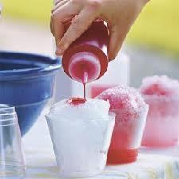 Transfer to a squirt bottle and drizzle over finely crushed ice. Refrigerate until needed again.
