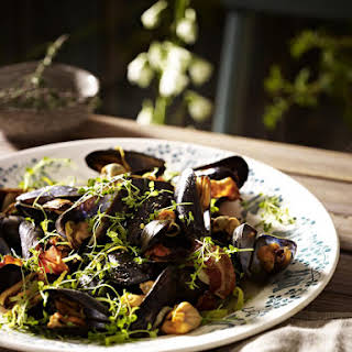Mussels in Cider with Bacon and Thyme.