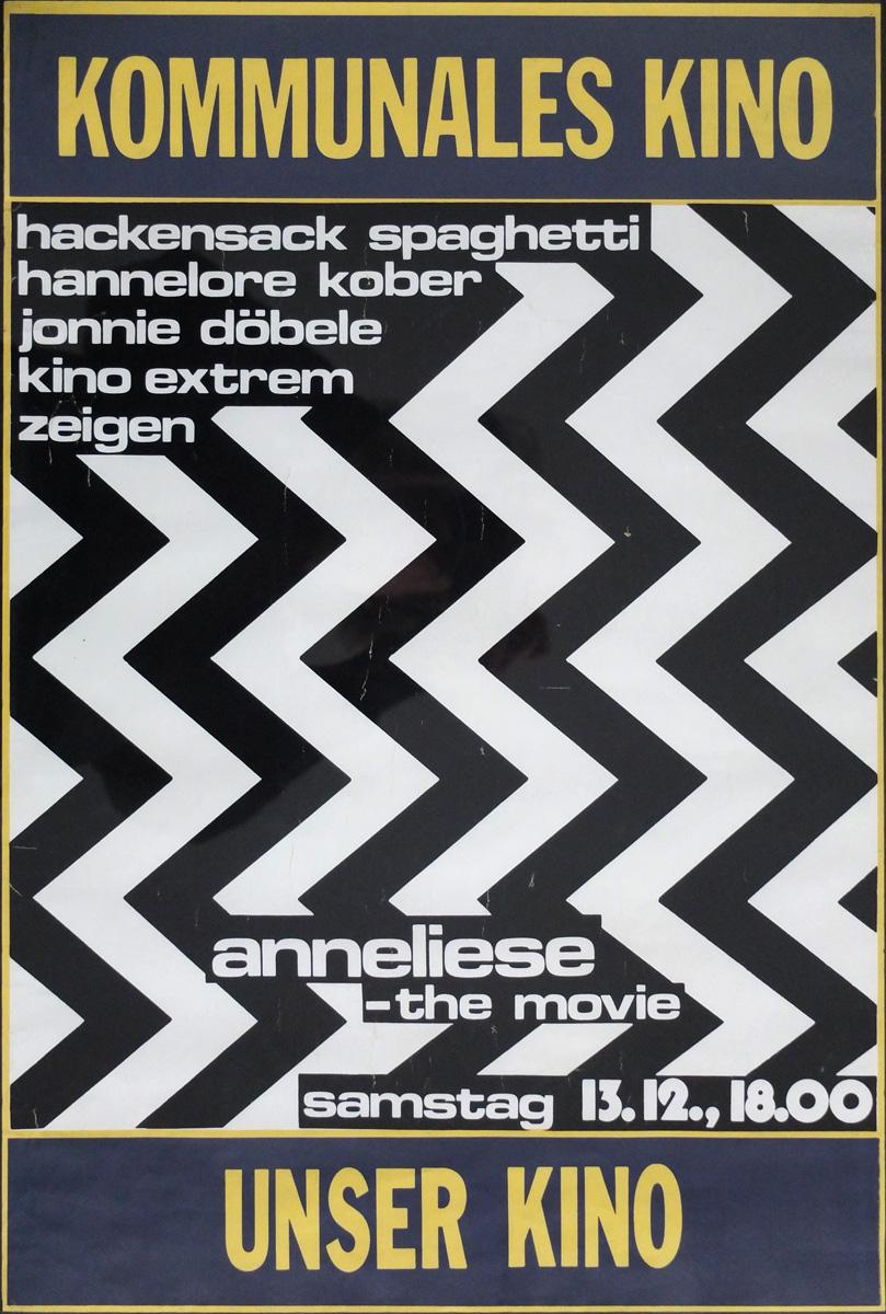 """Photo: Plakat für Uraufführung der Multi-Projektions-Filmshow """"Anneliese - the Movie"""" am 13.12.1980 Im Kommunalen Kino Stuttgart Siebdruck auf Offset,61x42cm,  © Hannelore Kober, 1980 all rights reserved"""