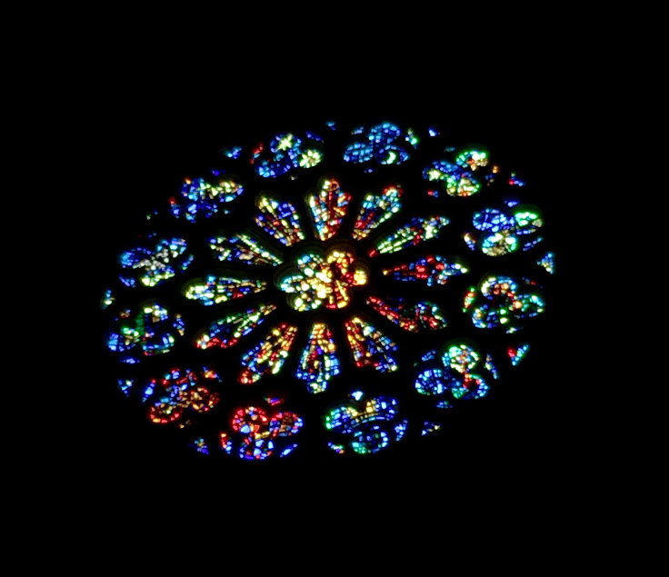 The Rose Window above the eastern entrance.