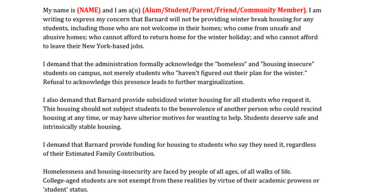 Petition update · Tell Barnard Admin You Care About Housing