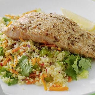 Almond-Crusted Salmon with Vegetable Couscous.