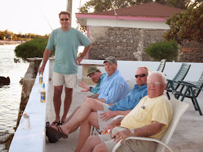 Photo: On the patio at the Andros Island Bonefish club with the Mad River Outfitters group