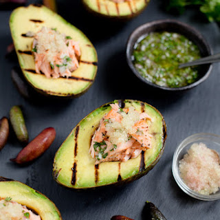 Salmon Stuffed Avocados with Finger Limes Recipe