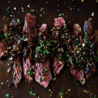 Newcastle Brown Ale Marinated Hanger Steak with Newcastle-Caramelized Onions