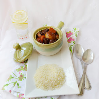 Alcohol free beef bourguignon…daring cooks May 2012