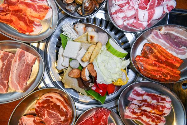 阿豬媽아줌마韓式烤肉x火鍋吃到飽:台中北區美食-近40種食材可選擇,厚切豬五花超實在