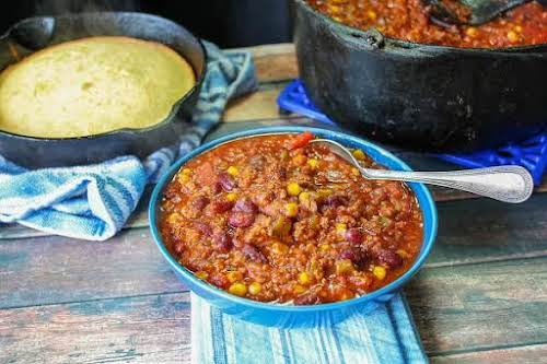 "Hunter's Sweet 'n Spicy Chili ""My husband and I have argued for..."