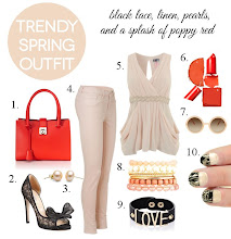 Photo: Here is a trendy spring outfit idea I put together to go with the lace tip nails. It features poppy red and linen, two of the Pantone spring 2013 colors.