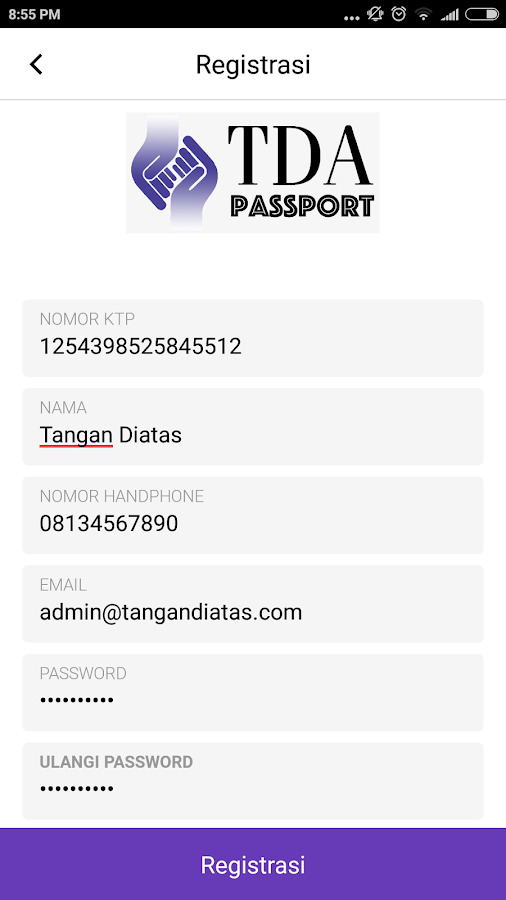 TDA Passport- screenshot